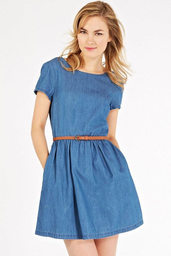 blue denim round neck short sleeve casual dress. loading OANRWAJ