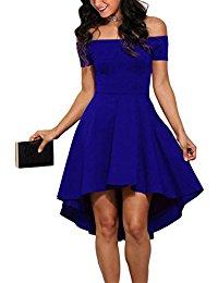 blue dress sidefeel women off shoulder sleeve high low skater dress OSJXWIF
