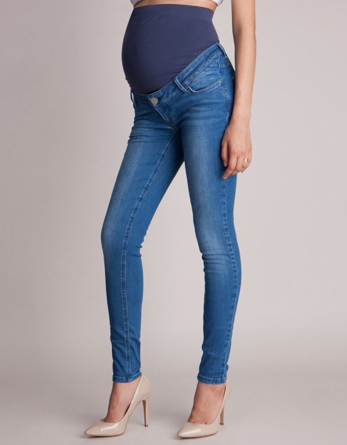 blue over bump slim leg maternity jeans ... NNXIBYE