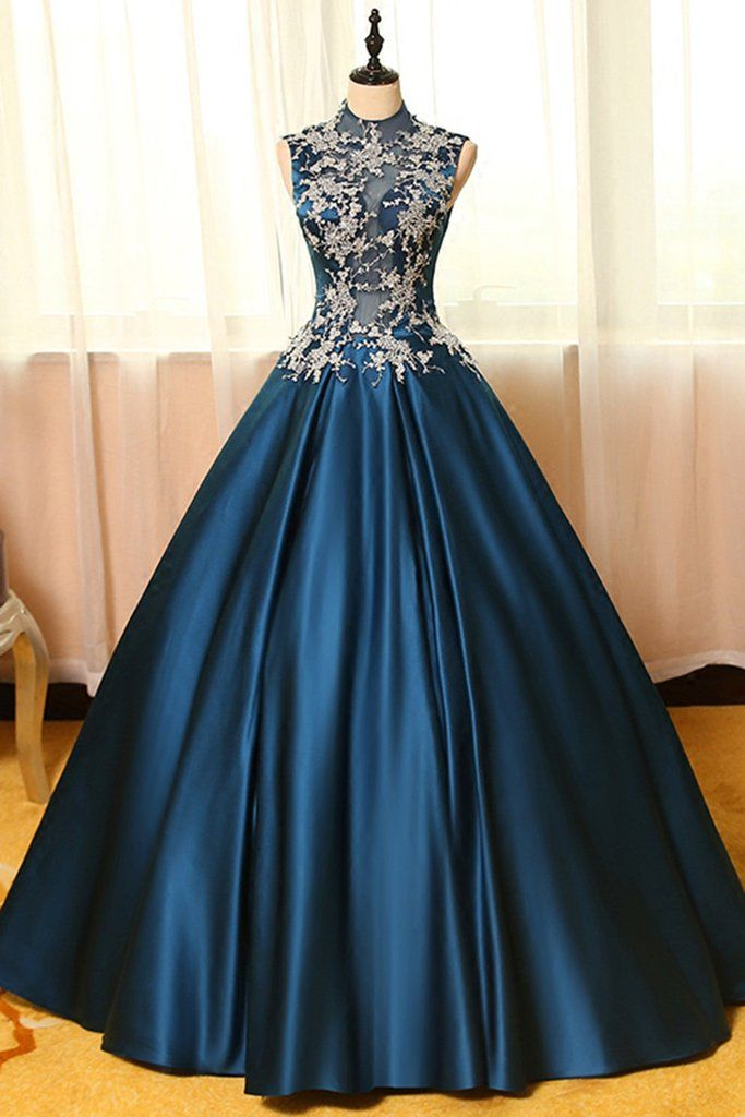 blue satins lace applique round neck see-through a-line long prom dresses,ball  gown dresses OPMGEPX