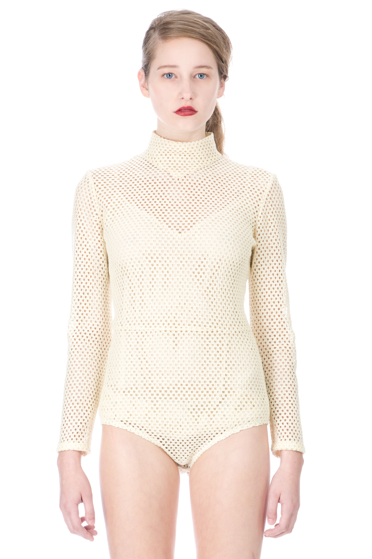 bodysuits for women veronique leroy mesh high neck long-sleeve bodysuit - women - just in -  jumpers YPRWFQL