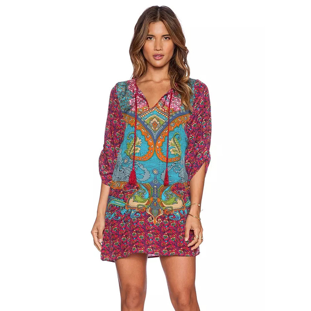 bohemian clothing plus size women clothing bohemian summer dress 2016 neck tie vintage  printed ethnic style FCJTMEV
