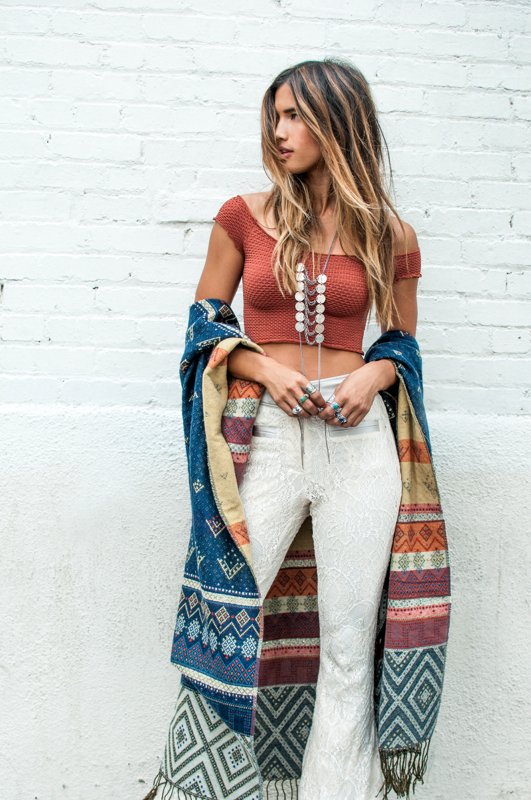 bohemian style the textured lace bell bottom pants combined with the patterned wrap are  both classic XLGYVAH