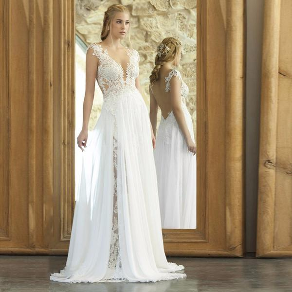 bohemian wedding dress boho front slit lace and chiffon beach wedding dress :: autumn collection BVPQFEC