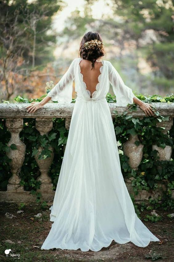 bohemian wedding dress cheap lace 3/4 long sleeve backless bohemian wedding dresses 2016 sexy  summer ivory ruched RVZWOKO