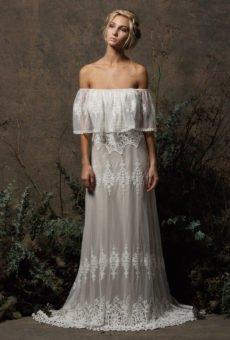 bohemian wedding dress juniper off-shoulder lace dress XXBFTDL