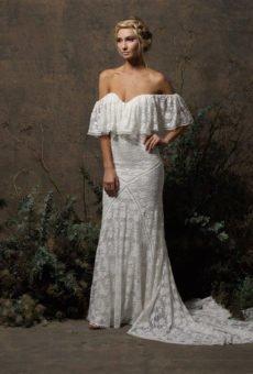 bohemian wedding dress lizzy off-shoulder lace dress GFXPSER