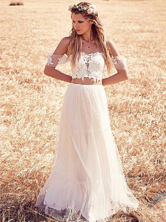 bohemian wedding dress off shoulder two piece boho wedding gown DCBQHFK