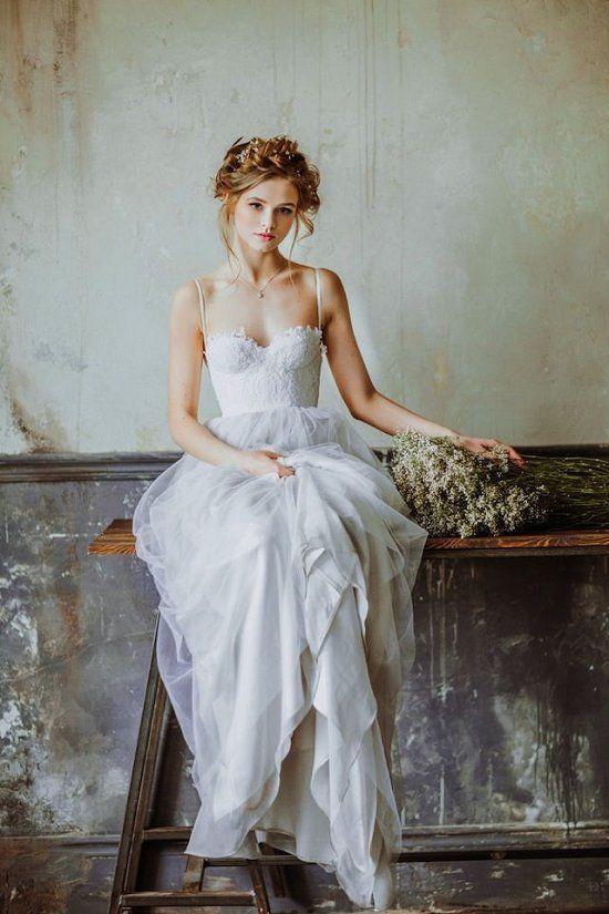 bohemian wedding dress sweetheart tulle boho wedding dress / http://www.deerpearlflowers.com/ YFFIBSE