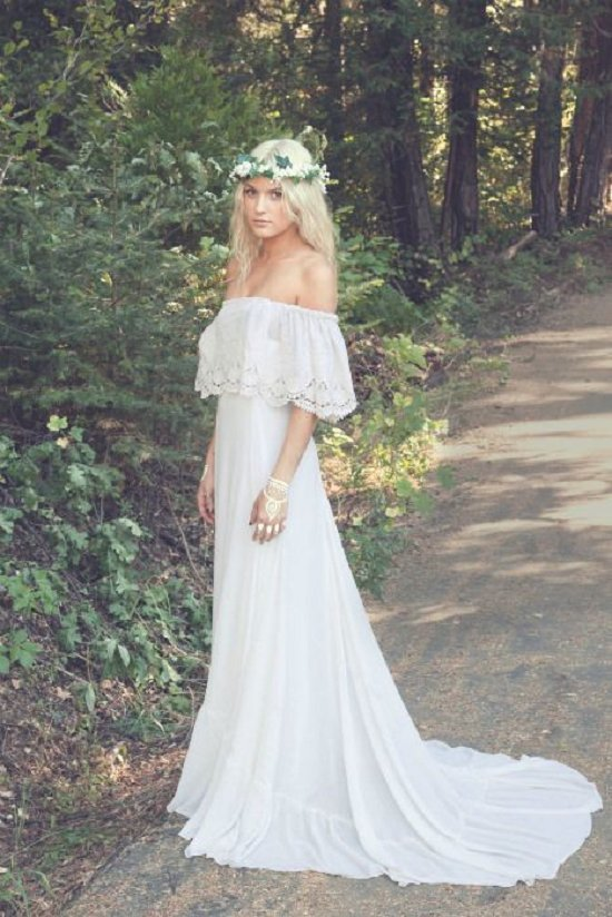 bohemian wedding dress vintage off shoulder boho wedding dress DBHRVSU