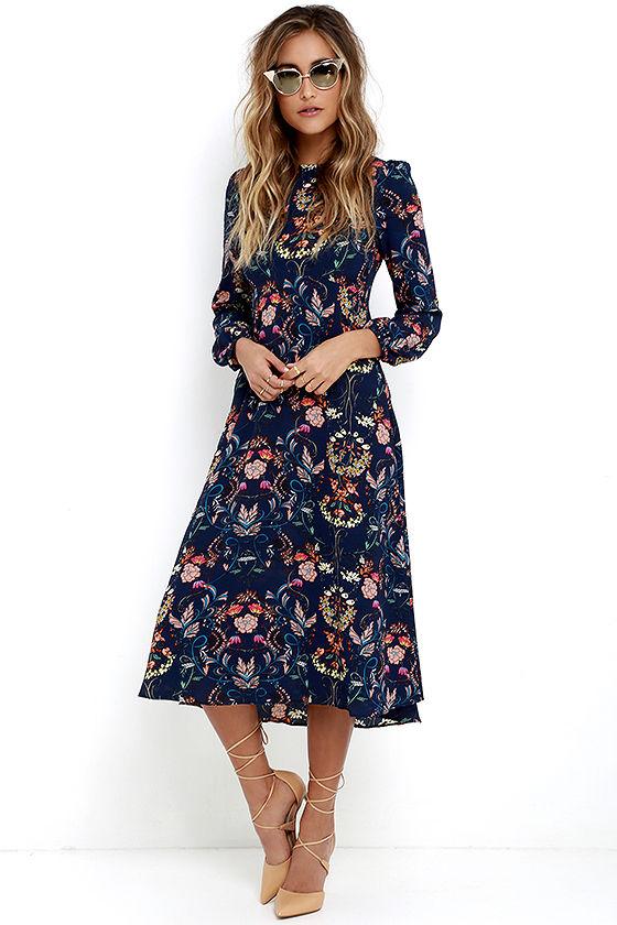 boho midi dress - navy blue dress - floral print dress - long sleeve dress YUUDOEZ