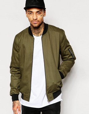 bomber jacket men asos bomber jacket in khaki EALISKM