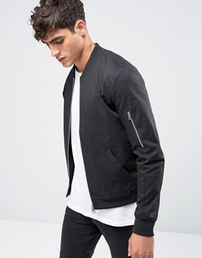 bomber jacket men asos muscle fit bomber jacket with sleeve zip in black LOWYJPX
