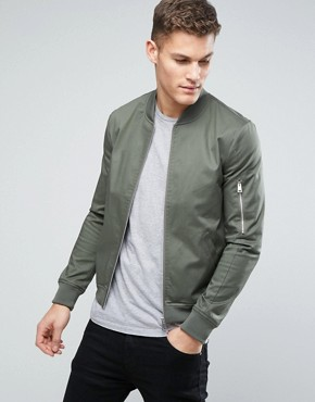 bomber jacket men asos muscle fit bomber jacket with sleeve zip in khaki RYEWIBI
