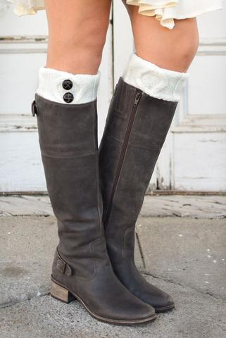 boot socks cream tortoise shell two button boot cuffs MUCQLHB