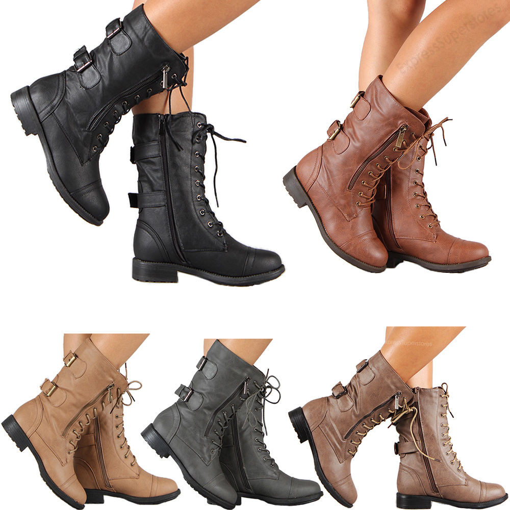 boots for women womens combat military boots lace up buckle new women fashion boot shoes  size SKHCTIR