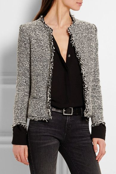 boucle jacket black and white cotton-blend bouclé slips on 91% cotton, 9% polyamide AJHCBZH