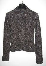 boucle jacket chanel 03a metallic black brown alpaca wool boucle knit cardigan jacket 36 CJWWFXH