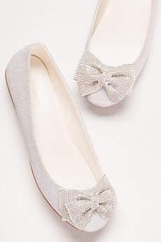 bridal flats davidu0027s bridal grey ballet flats (glitter bow ballet flats) KWZXKDP
