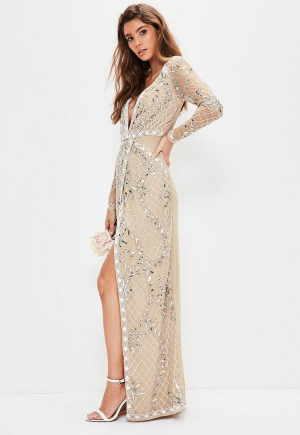bridal nude long sleeve plunge embellished maxi dress ECZGGKR