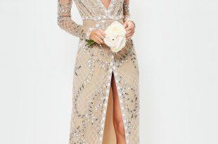 bridal nude long sleeve plunge embellished maxi dress RHPFWYQ