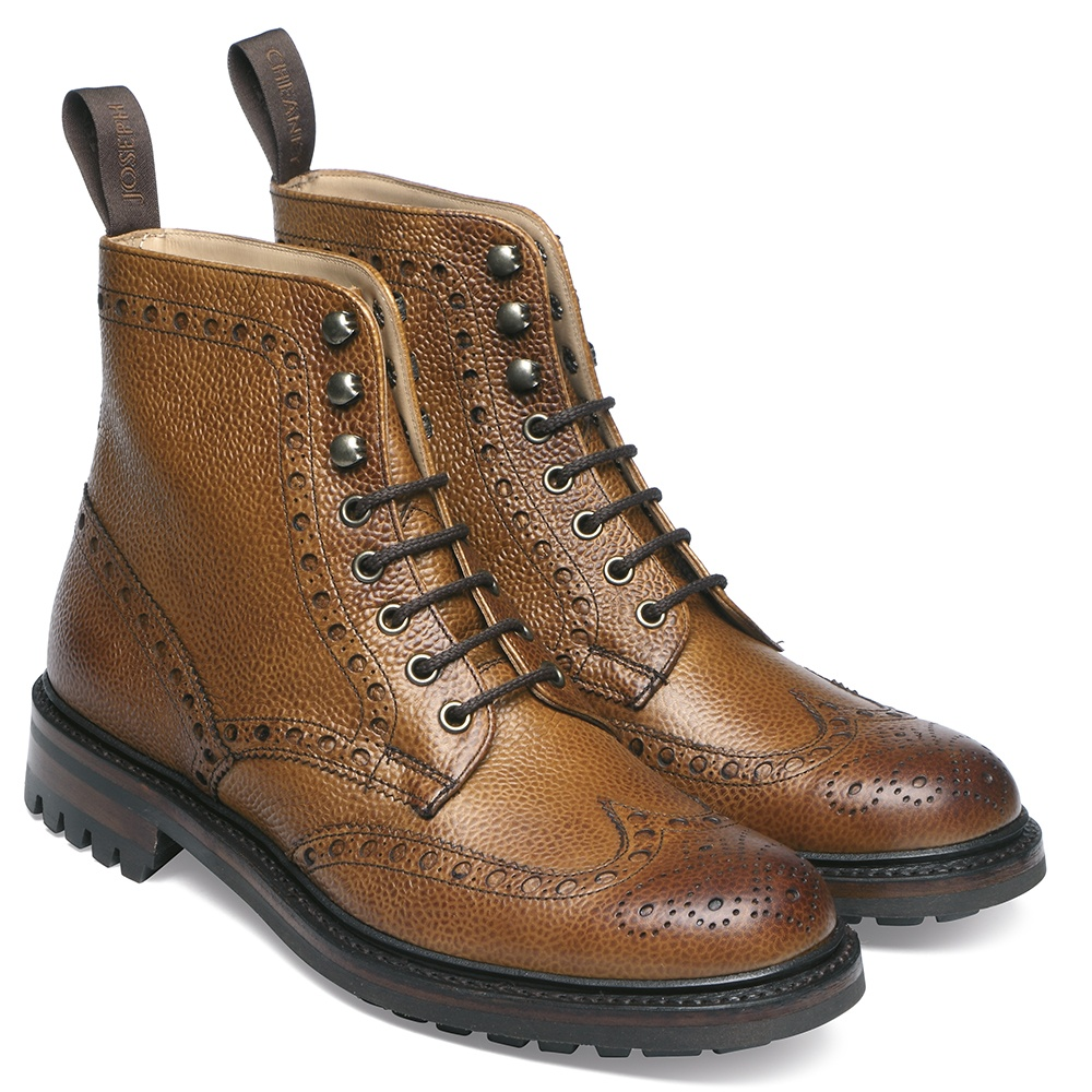 brogue boots cheaney tweed c wingcap brogue country boot in almond grain leather ... LHEXODM