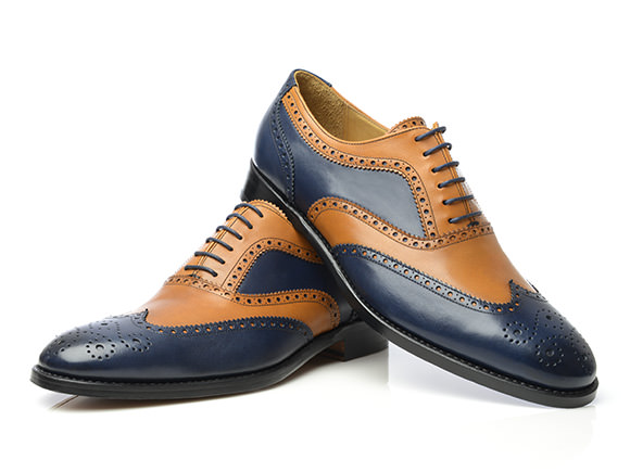 brogue shoes two tone full brogue oxford in blue u0026 tan boxcalf leather model no 382 by LHTIHRE