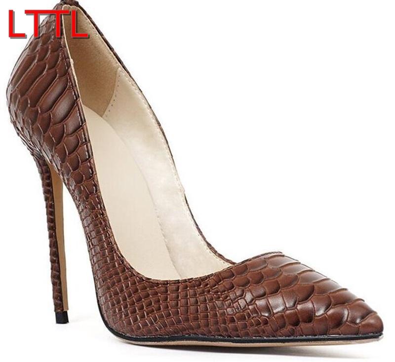 brown heels aliexpress.com : buy 2016 lttl women pointy toe pumps patent leather high heels  brown OJJJDXW