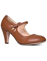 brown heels mary jane pumps - low kitten heels - vintage retro round toe shoe with FDGAPCA