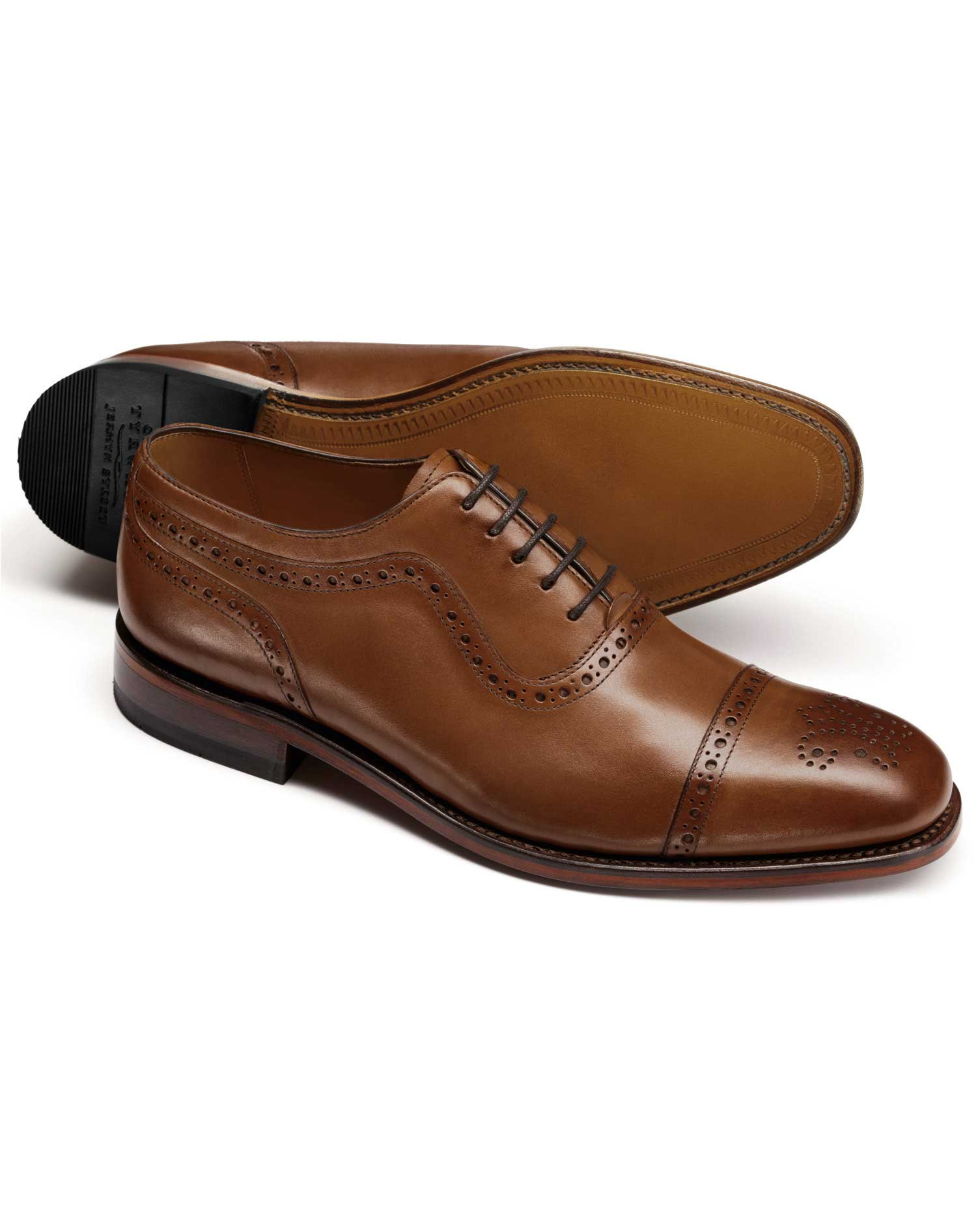brown parker toe cap brogue oxford shoes KLWVFVP