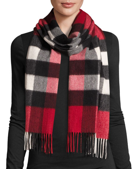 burberryhalf mega check cashmere scarf, parade red MXOYHYL