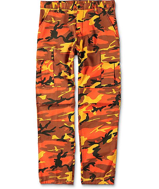camo pants rothco bdu savage orange camo cargo pants UKUOUGP