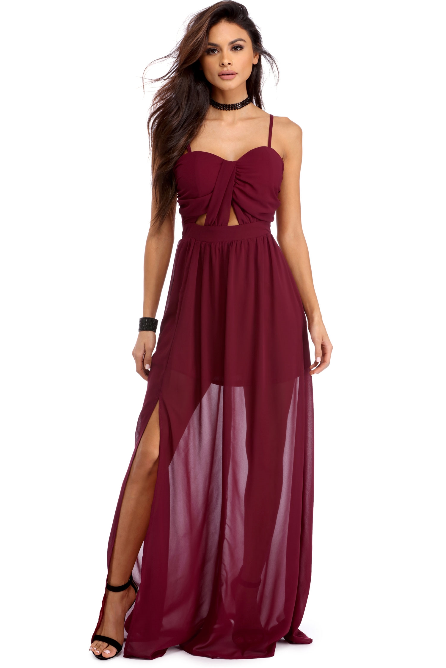 candace burgundy chiffon dress CHVZFTC