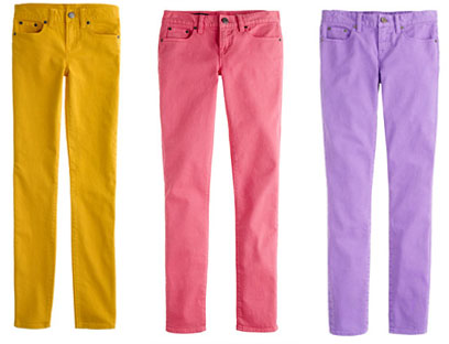 candy colored jeans for spring | running with mascara UVXELBA