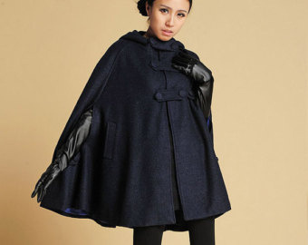 cape coat, blue wool coat, navy blue cape, wool coat women, wool QSLLIKE