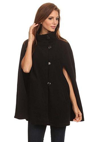 cape coat ll womens cape poncho coat fall winter soft fleece open front button,  black, one FCZJLLT