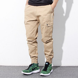 cargo pants for men wholesale-hip hop mens skinny cargo pants black khaki and blue joggers with  pockets on MILZPXK