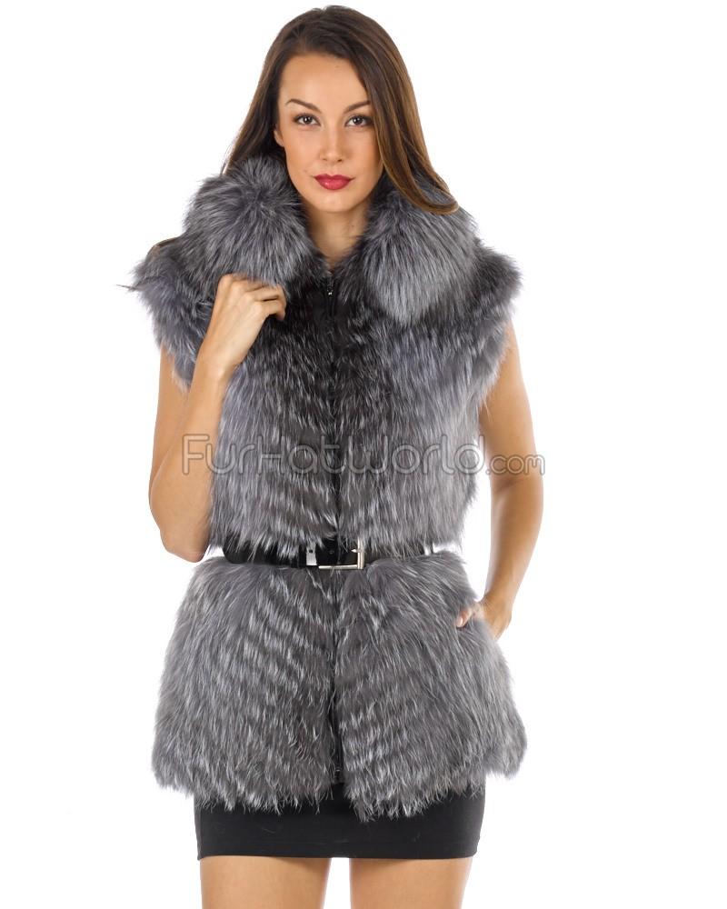 carmen silver fox fur vest with collar WXYNUQB
