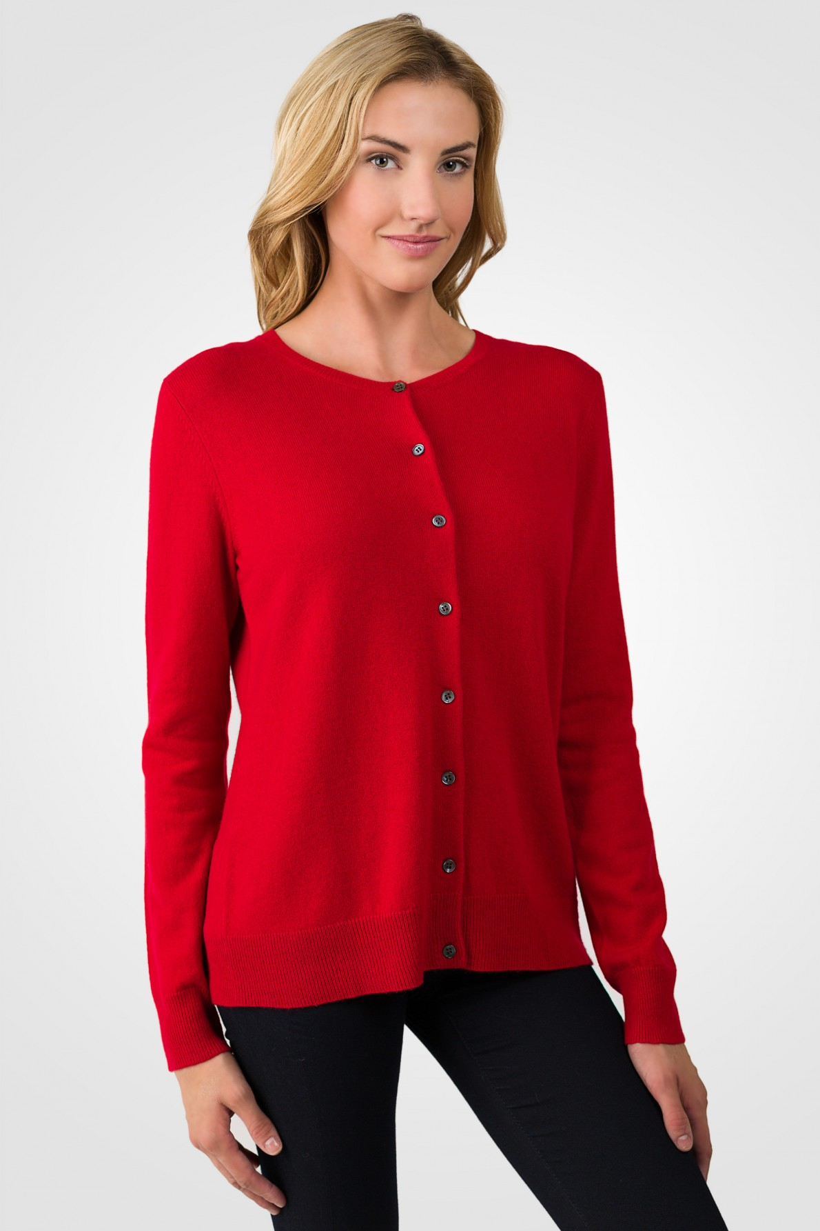 cashmere cardigan red cashmere button front cardigan sweater right side view SZUBWSE