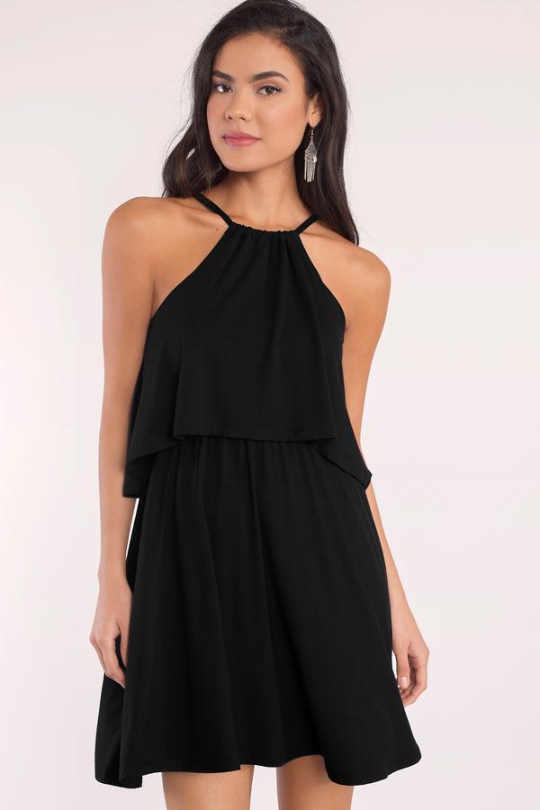 casual dress day dresses, black, daily double tiered dress, ... LTJMIZJ