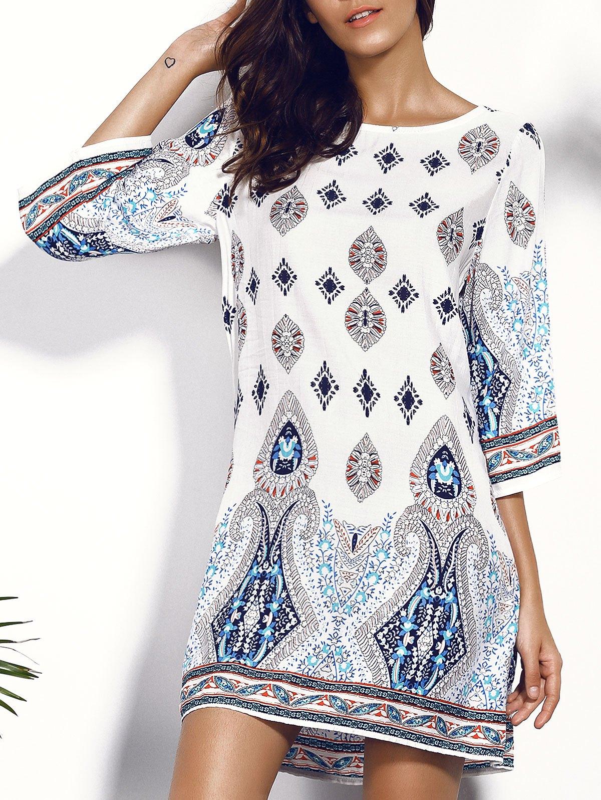 casual dress printed chiffon backless casual shift dress - colormix m image 1 ... UXHPYOP