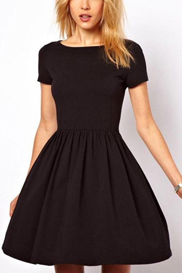 casual dresses black pleated short sleeve casual dress. loading SNQMAKB