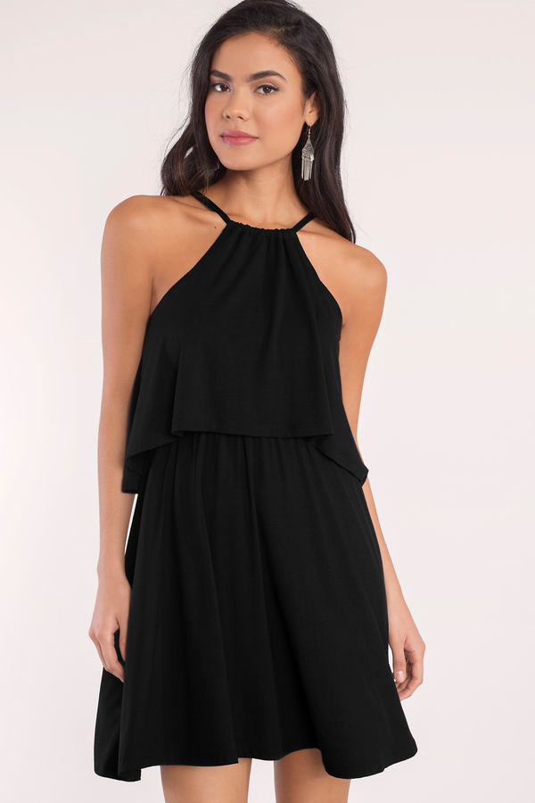 casual dresses day dresses, black, daily double tiered dress, ... CMUJJNQ