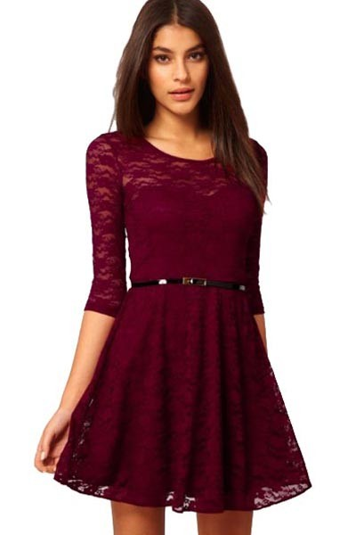 casual dresses half sleeve casual lace dress BQEVXUI