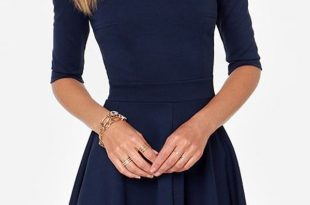 casual dresses solid color scalloped trim half sleeve skater dress TBSOSFY