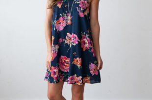 casual summer dresses for women flower YOFVMYU