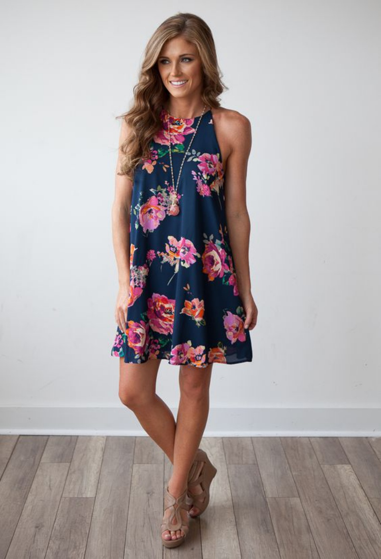 casual summer dresses for women flower YOFVMYU