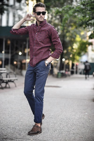 casual wear for men burgundy dress shirt with jeans style casual wear looks men AXUNHJJ
