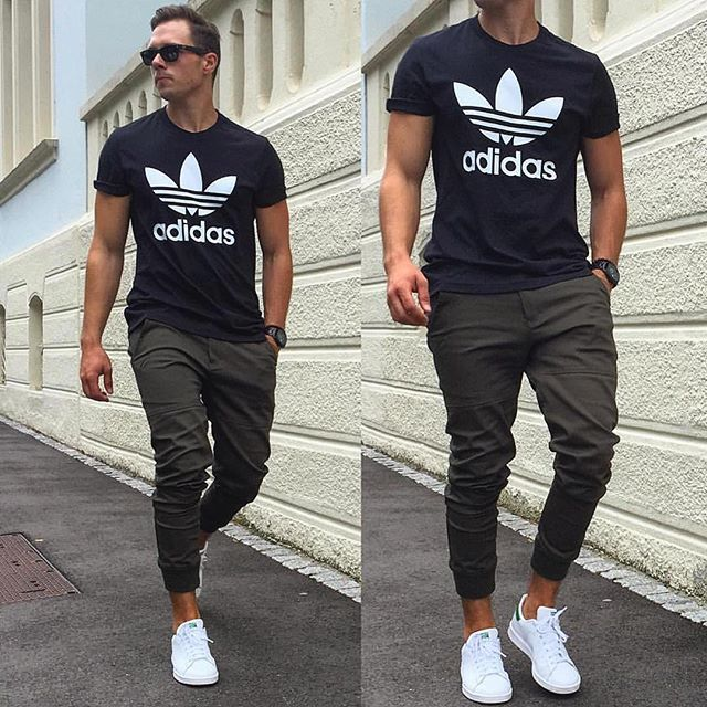 casual wear for men classic, hip but simple. joggers, adidas shoes, adidas shirt - hip cool.  adidas shirtadidas GOBZKTN