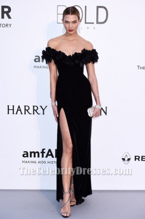 celebrity dresses karlie kloss amfar 2016 black off-the-shoulder formal dress celebrity  dresses ... GMMIPDV
